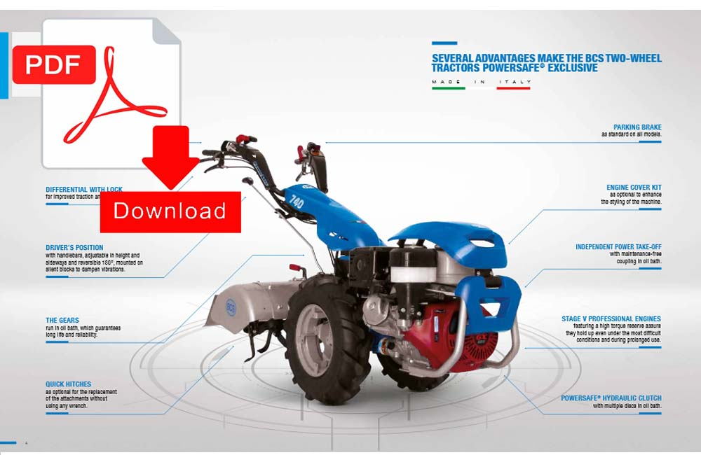 Download BCS Two Wheel Tractors Power Safe Pdf Manual.